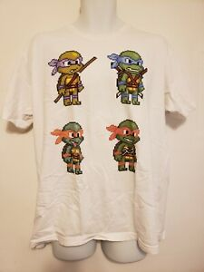 Details About Teenage Mutant Ninja Turtles Xl Tmnt Pixel Art Retro Graphic Tee T Shirt