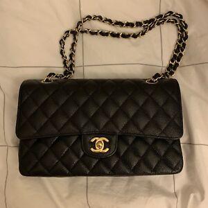 1d4957856b64 Image is loading Chanel-medium-Classic-Flap-Bag-Caviar-Black-Gold-