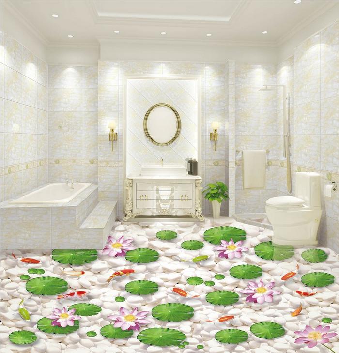 3D Lotusteich 527 Fototapeten Wandbild Fototapete Tapete Familie DE Lemon