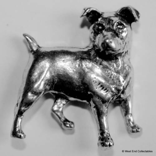 British Hand Crafted Jack Russell Terrier Pewter Pin Brooch Fox Hunting Dog