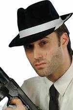 PLASTIC BLACK GANGSTER HAT MOB TRILBY FANCY DRESS COSTUME AL CAPONE JACKSON NEW