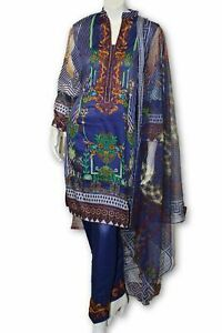 A16    Pakistani Indian Fine Design 3 Pcs Embroidered  Lawn Suit