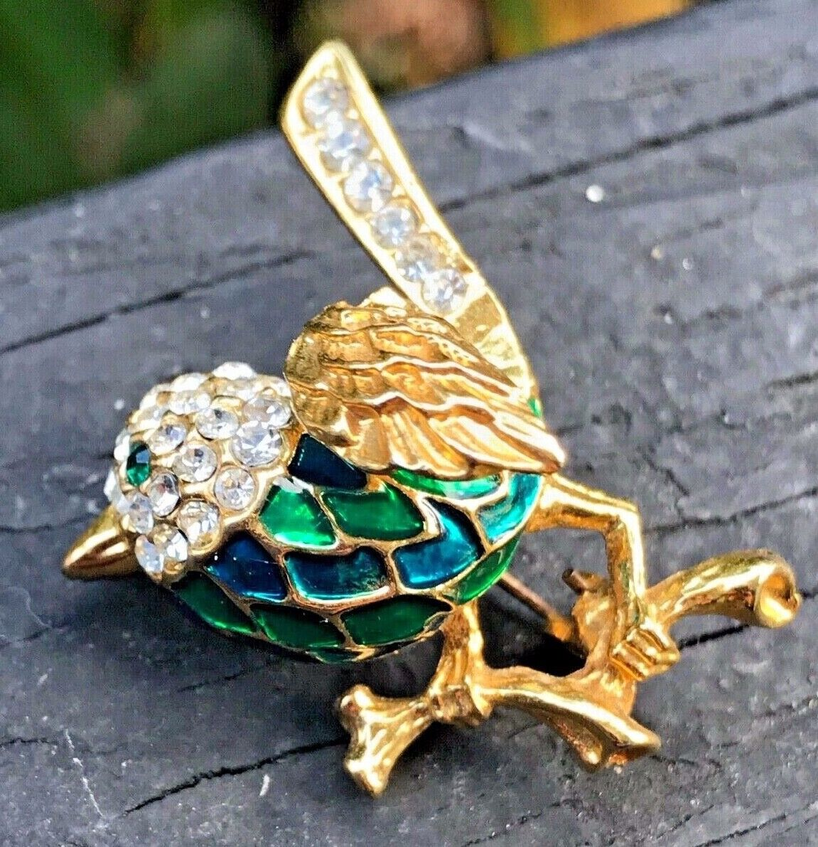 VINTAGE Chinese dimensional gold wash silver enamel turquoise BIRD PIN brooch