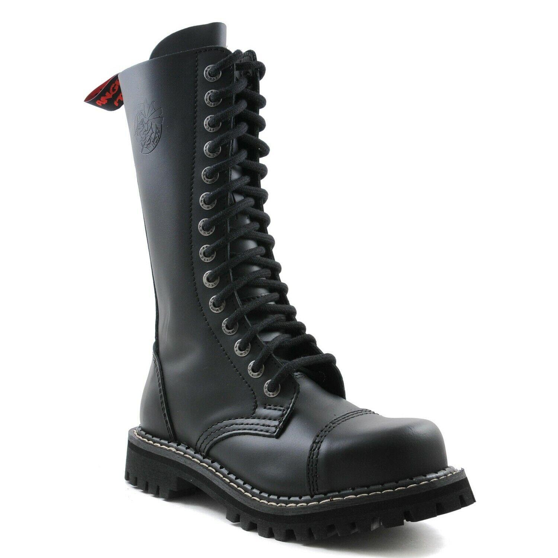 Angry Itch Bottes De Combat En Cuir Noir Unisexe 14 œillets militaire Steel Toe Punk