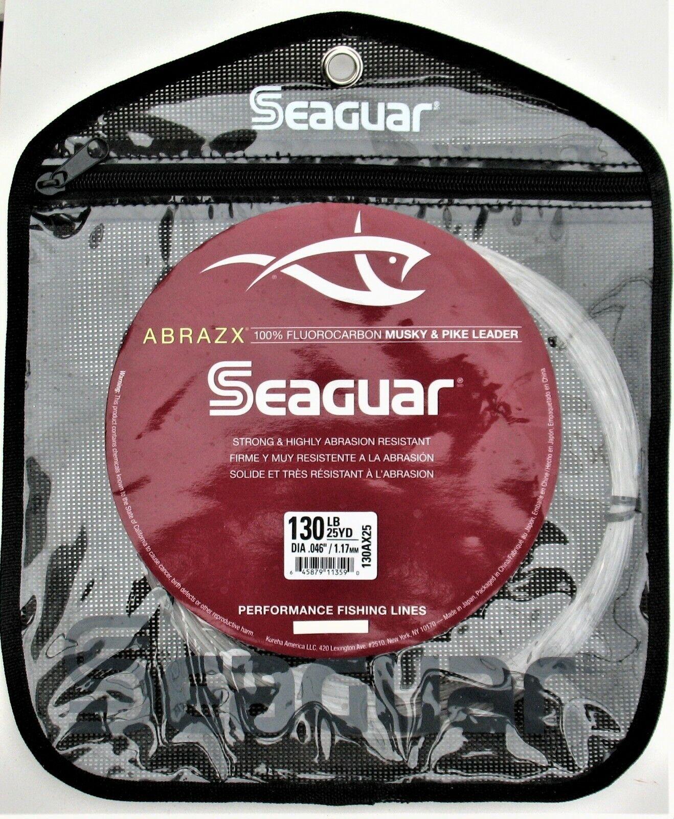 SEAGUAR ABRAZX 100% FLUoroCARBON MUSKYPIKE LEADER 130 LB TEST 25 YARDS