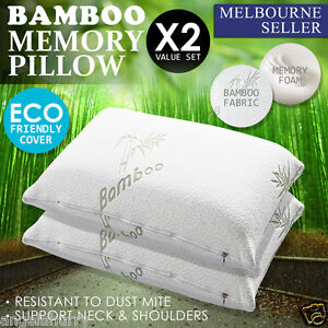 2 x Allergy Proof Large Bamboo standard Fibre Pillow Memory Foam Cover 67 X 40CM
