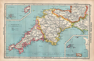 Map Of England South.Details About 1952 Map England South West Cornwall Devon Somerset Channel Islands