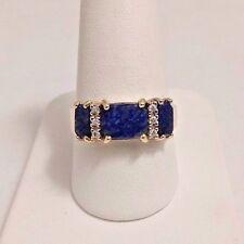 14 K YELLOW GOLD DIAMOND LAPIS LASULI RING. SIZE 9