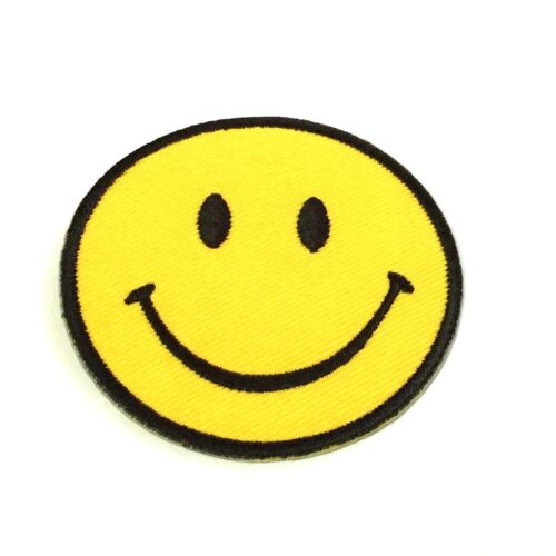 Cusmileshop Happy Smile Logo Smiley Face Iron On Patches Embroidered Sign Badge