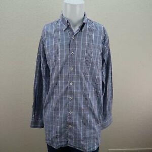 Peter-Millar-Blue-Long-Sleeve-Buton-Front-Cotton-Check-Casual-Shirt-Mens-XL