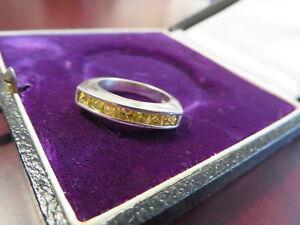 Erstklassiger-925-Silber-Ring-Gelbe-Steine-Citrin-Lemon-Topas-Top-Design