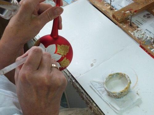 Verre Babiole sur métal socle peint à la main décorations de Noël haute qualité