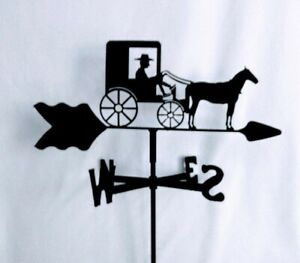 Amish Horse And Buggy Garden Style Weathervane Wrought Iron Look Made In Usa Ebay