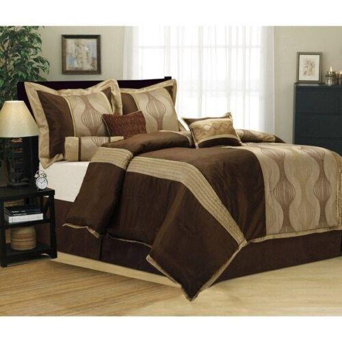 Full Queen Cal King Bed Brown Beige Gold Geometric Stripe 7 pc Comforter Set