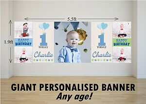 Personalised-GIANT-Large-Happy-Birthday-Banner-Boys-1st-2nd-Heart-Balloons-N70