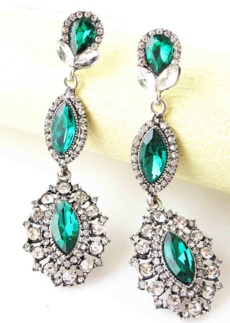 exquisite Women Elegant Crystal Rhinestone Ear Stud silver dangle Earrings 450