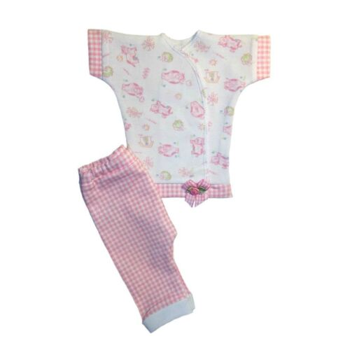Sweet Pink Cow Gingham Baby Girl Pants Shirt Outfit 4 Preemie and Newborn Sizes