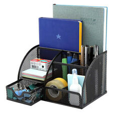 Desk Organizer Pen Holder 6 Component Mesh Office Accessories Cady With 1 Drawer