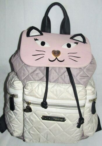 Betsey Johnson Large Cat Kitten Face Quilted Pink