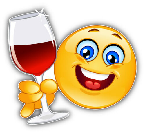 """Smile Glass Of Wine Car Bumper Sticker Decal /""""SIZES/'/'"""