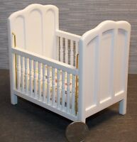 Dollhouse Miniature White Baby Bed Crib With Mattress 1:12 One Inch Scale F31
