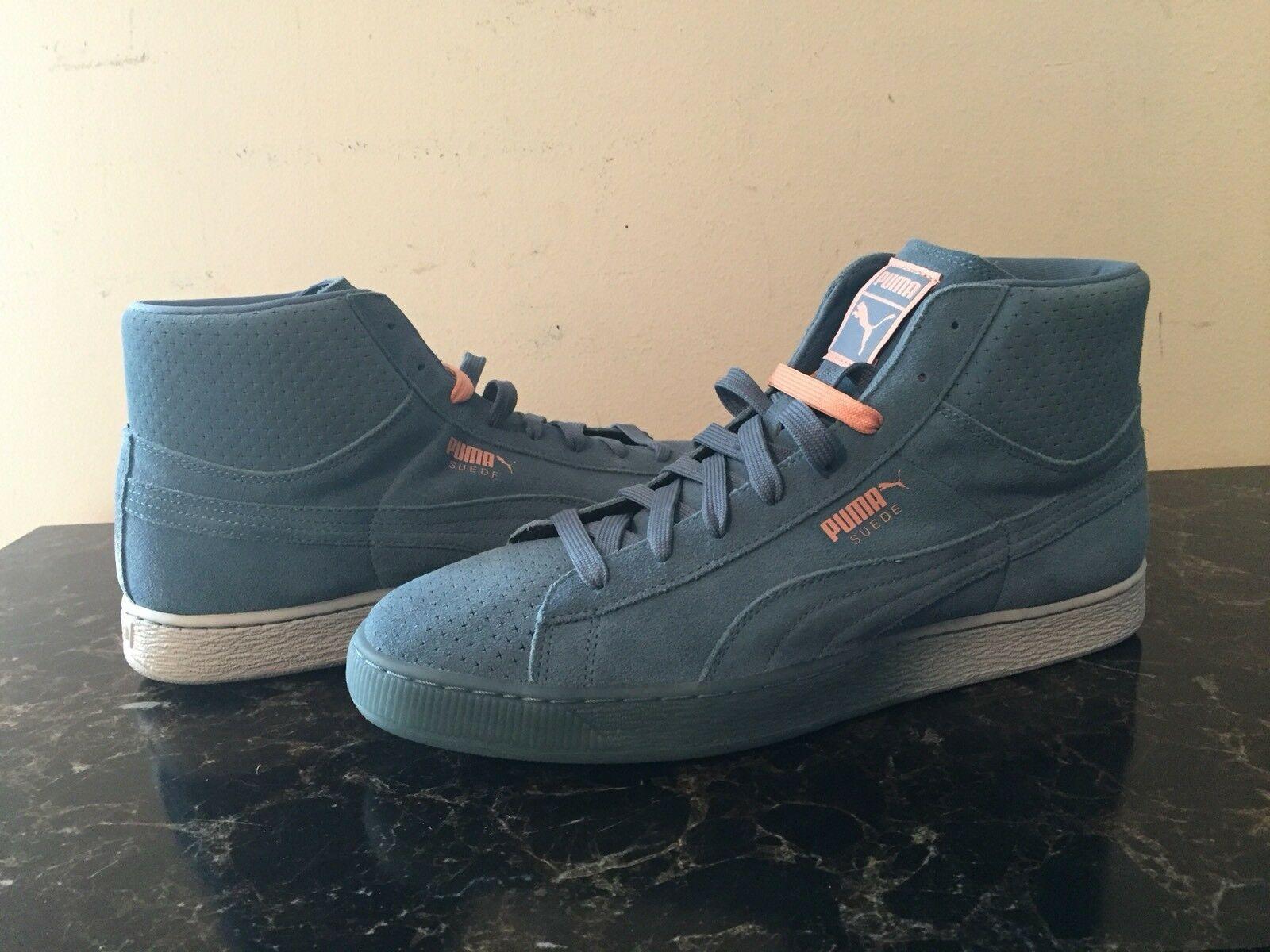Pink Dolphin X Puma Collab Suede Mid Top Blue Pink Uomo Sz 12