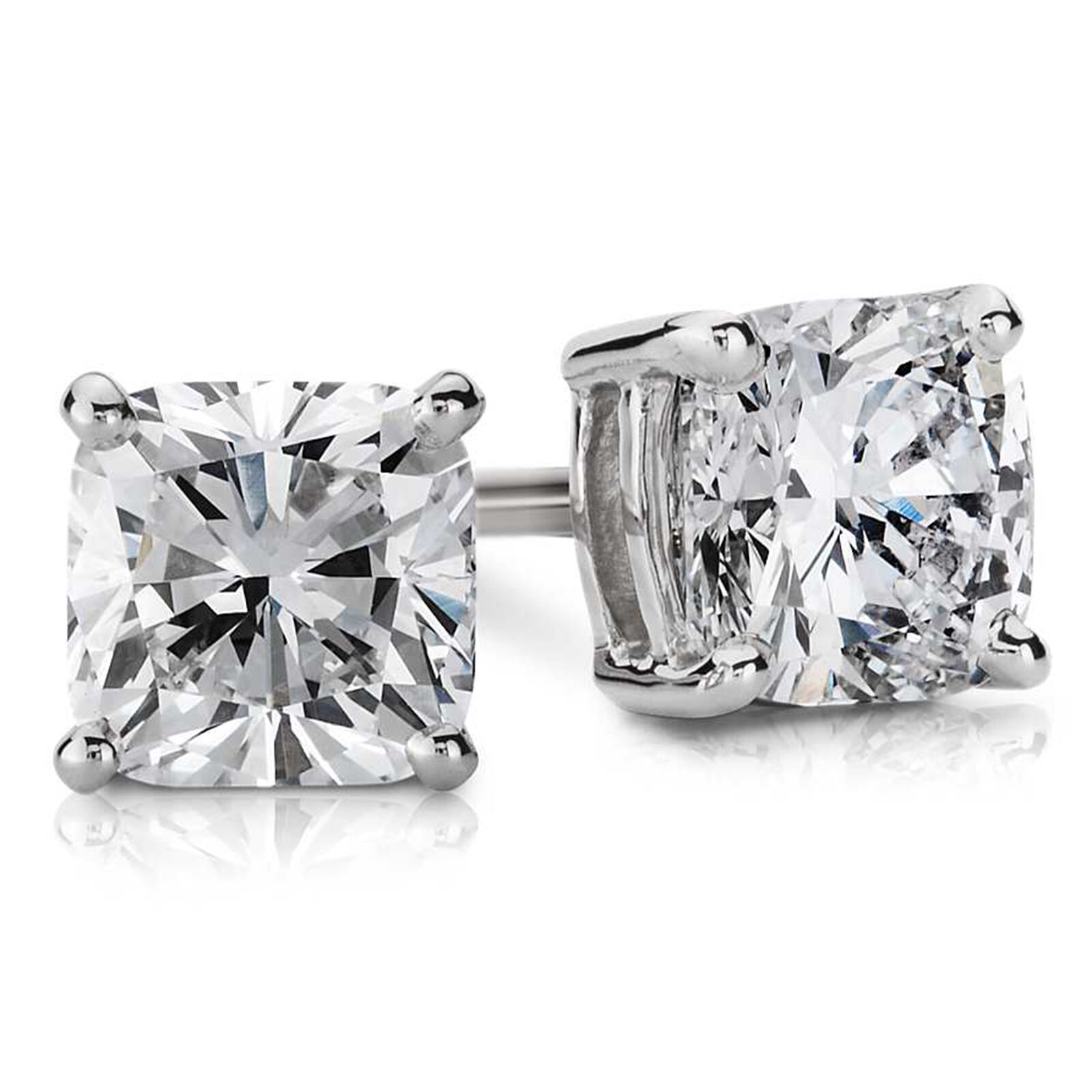 4.00Ct Diamond Earrings Hallmarked 14K White gold Stud Solitaire Womens Studs