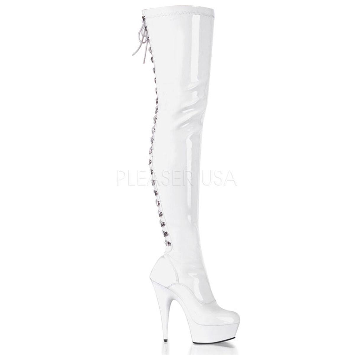 PLEASER PLEASER PLEASER Sexy White Platform 6  Stiletto Heel Stripper Dancer Thigh High Boots 6a5f95