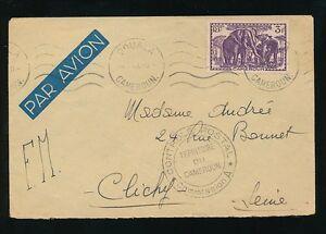 Cameroun-1940-Douala-machine-annuler-ELEPHANT-3F-solo-airmail-pour-la-france