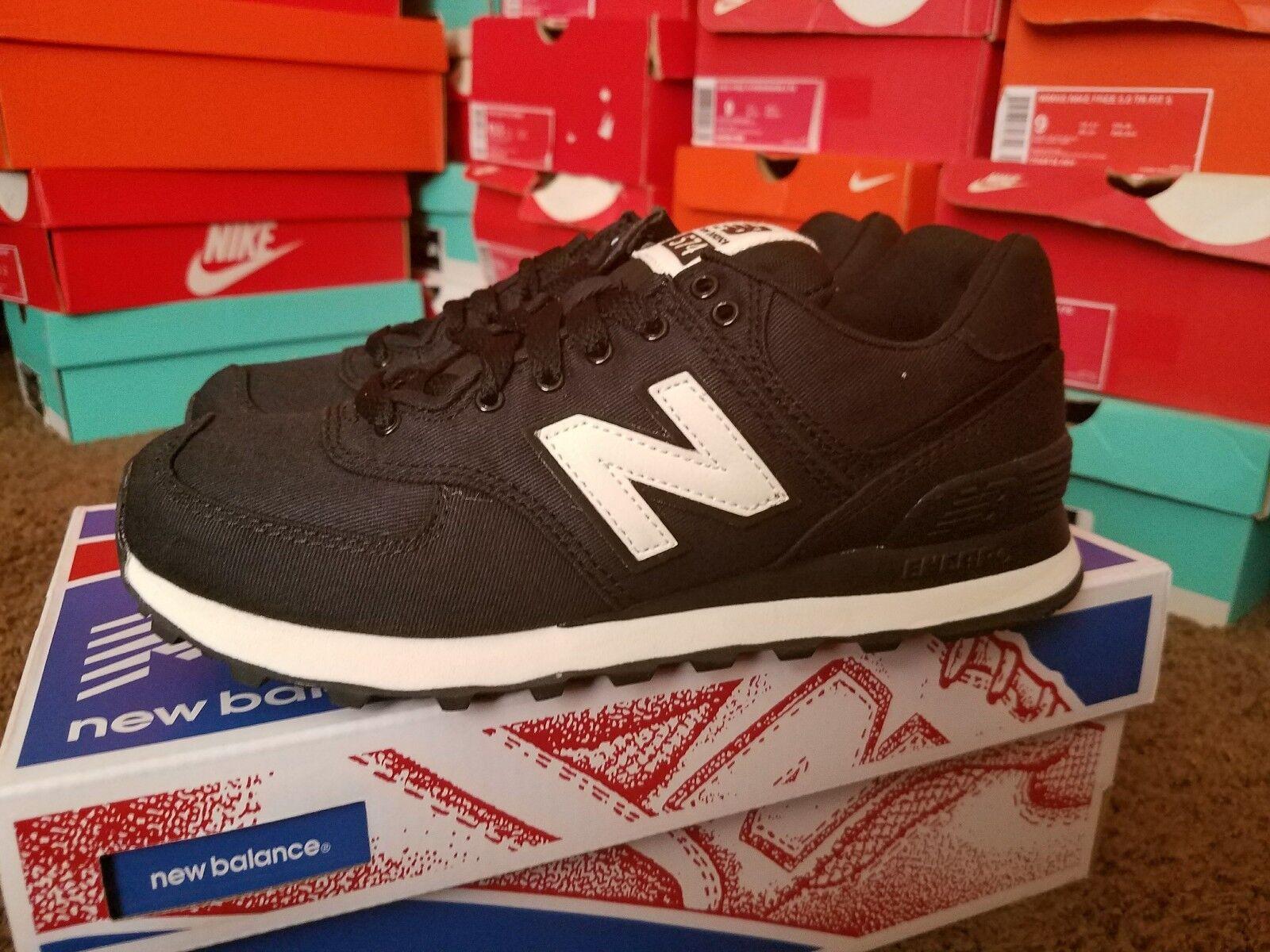 NEW BALANCE WOMEN CLASSICS WL574MDB BLACK ANGORA RETRO Lifestyles Sneakers Sz 6