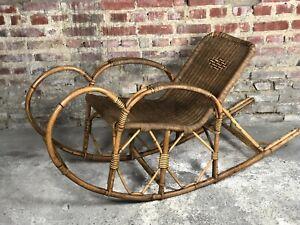 Rocking chair en rotin et osier tréssé années 1900