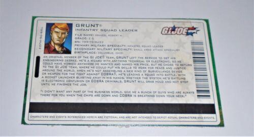 G I JOE File Card Filecard      2004 Grunt V8
