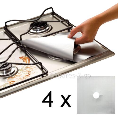 4 X universale in Teflon Piano cottura a gas ARGENTO FODERA ANTIADERENTE RIVESTIMENTO EASY CLEAN PROTECTOR
