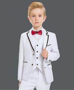 Flower Boys Groom Wedding Tuxedos Children Party 3 Piece White Suits Custom Made