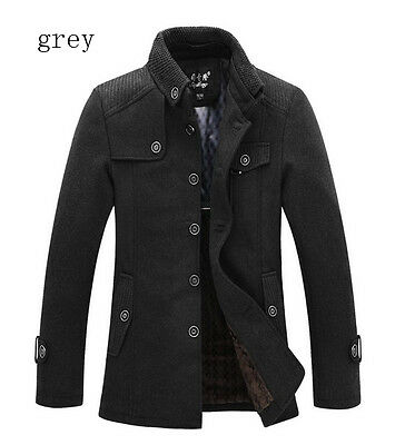 New Style Winter Mens Warm Blend Fleece Blazer Wool Military Coat Jacket Grey