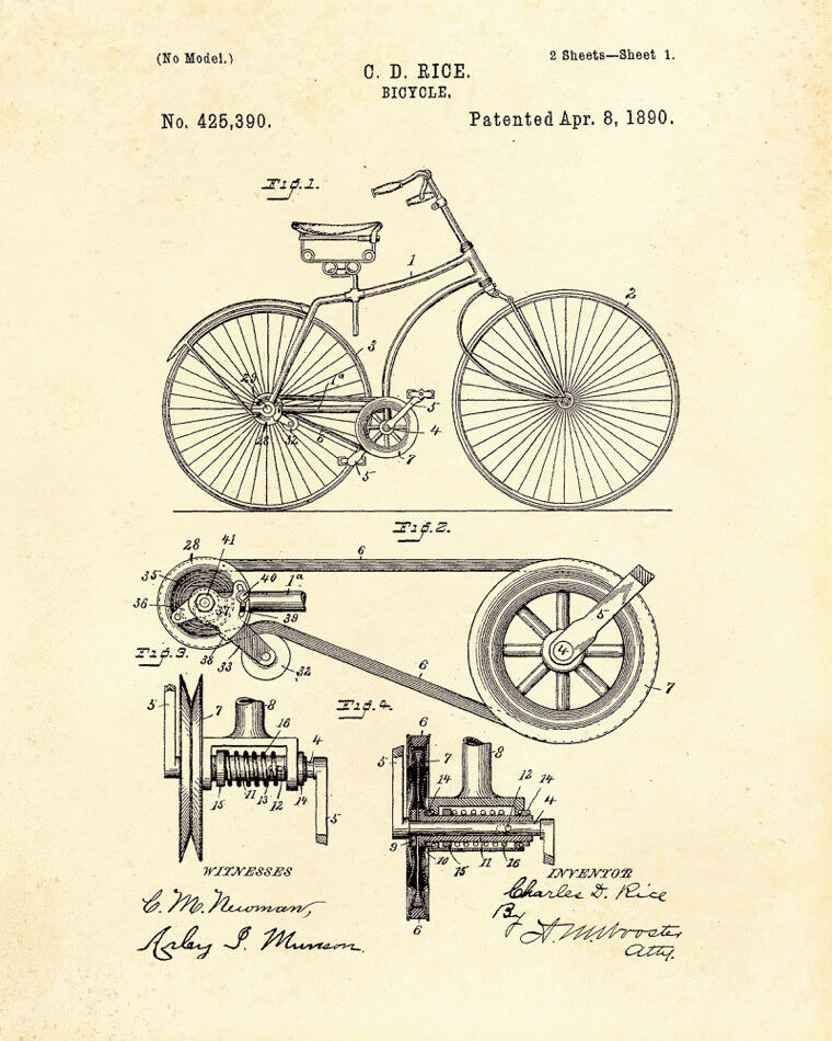 Decoration POSTER print.Vintage Patent.Bicycle.Bike.Home Room interior wall.6757