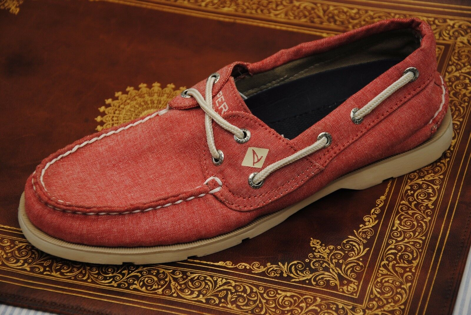 NEW MEN'S SPERRY TOP SIDER SHOES SZ 7.5 RED CANVAS BOAT DECK
