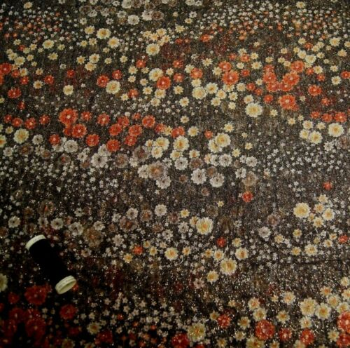 142cm Wide Gold Metalic * Crinkle Stretch Floral Lace Fabric BROWN FLORAL