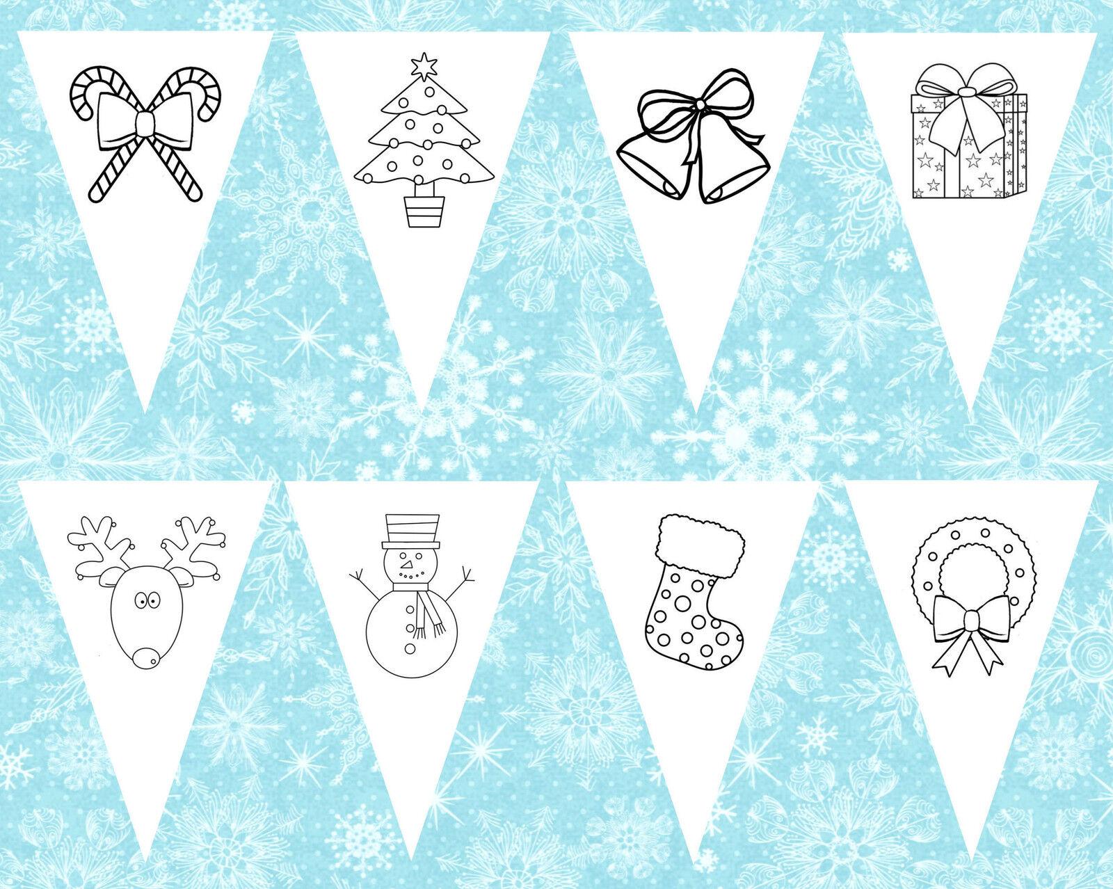 Kinder Färbung in Weihnachten Bilder Fahnentuch - ideal Handwerk Dekoration  | Qualitätskönigin  | Sofortige Lieferung