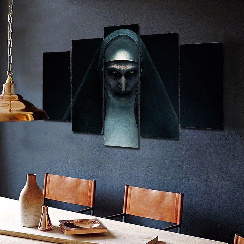Framed The Nun Scary Horror Movie 5 Piece Canvas Print Wall Art Decor