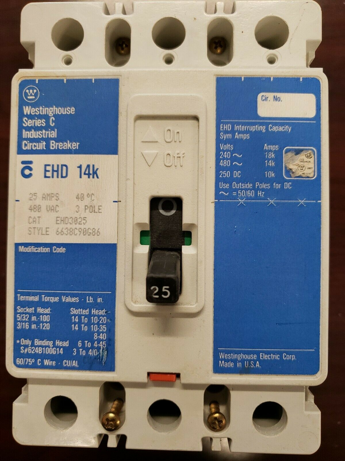 EHD3025 Westinghouse 25AMP Industrial Circuit Breaker 3 Pole 25A 480VAC