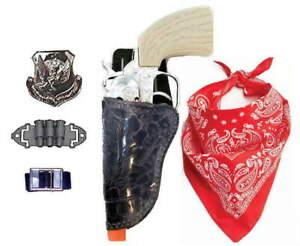 CAP GUN, Marshal's Left Hand Holster Set w/Die-Cast Pistol,Bandana, Ammo. Badge