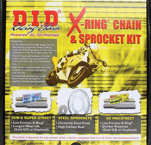 DID X ring Chain and Sprocket kit Suzuki V-Strom 1000 2002-2009 17//41 Stock