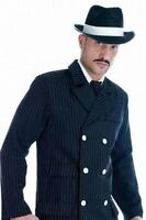 1920s Gangster Bugsy Malone Mens Fancy Dress Costume & Hat - Medium