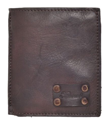 Mens Gents Genuine Vintage Leather Small Bifold Organiser Wallet Purse Brown Tan