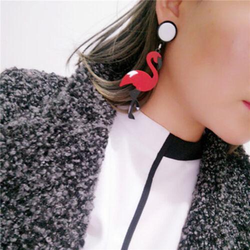 Fashion Femmes Acrylique ANIMAL Flamant Dangle pompons Boucles d/'oreilles Goutte Bijoux