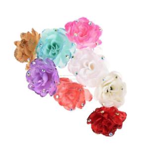UK Seller NEW Beautiful Glitter /& Diamante Rose Hair Pin Many Colours
