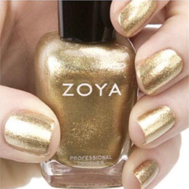 ZOYA ZP644 ZIV metallic gold foil with silver & gold glitter nail polish lacquer