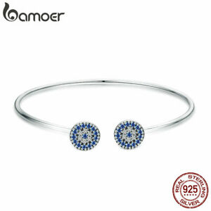 BAMOER-Real-925-Sterling-Silver-Bangle-Planet-With-Blue-Zircon-For-Women-Jewelry
