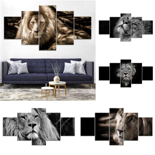 Lion Animal Modern B&W Canvas Print Painting Framed Home Decor Wall Art Poster